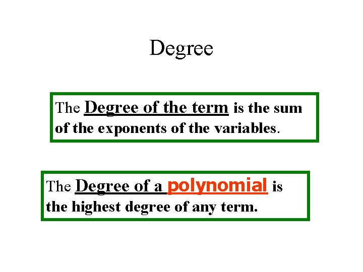 Degree The Degree of the term is the sum of the exponents of the