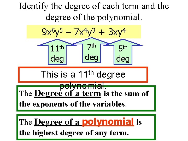 Identify the degree of each term and the degree of the polynomial. 9 x