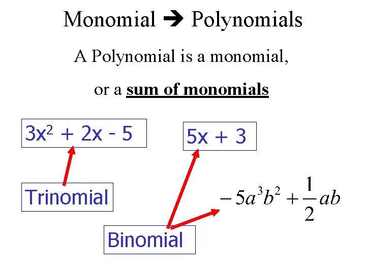 Monomial Polynomials A Polynomial is a monomial, or a sum of monomials 3 x
