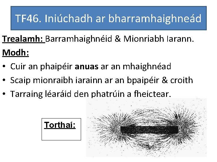 TF 46. Iniúchadh ar bharramhaighneád Trealamh: Barramhaighnéid & Mionriabh Iarann. Modh: • Cuir an