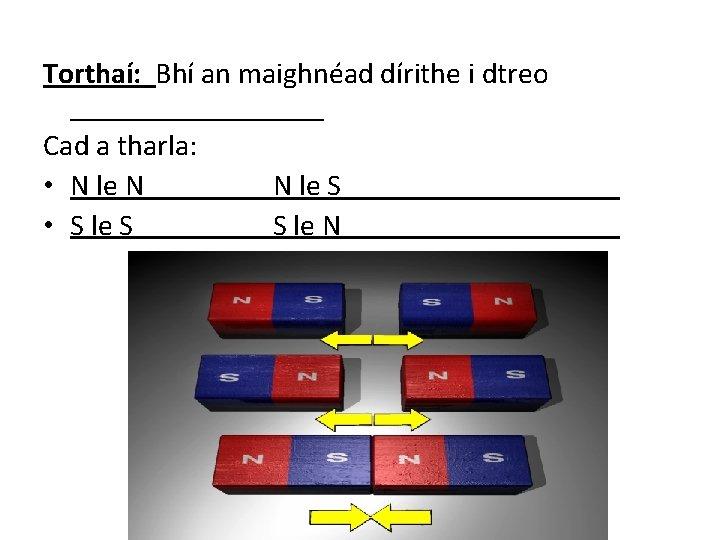 Torthaí: Bhí an maighnéad dírithe i dtreo _________ Cad a tharla: • N le
