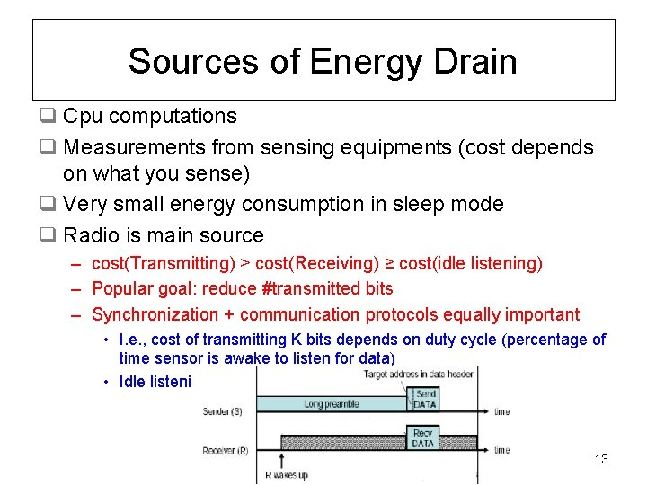 Sources of Energy Drain q Cpu computations q Measurements from sensing equipments (cost depends