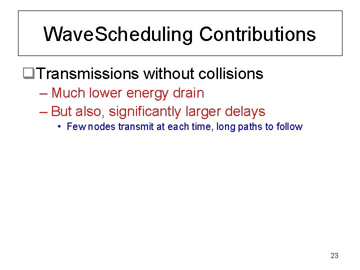 Wave. Scheduling Contributions q. Transmissions without collisions – Much lower energy drain – But