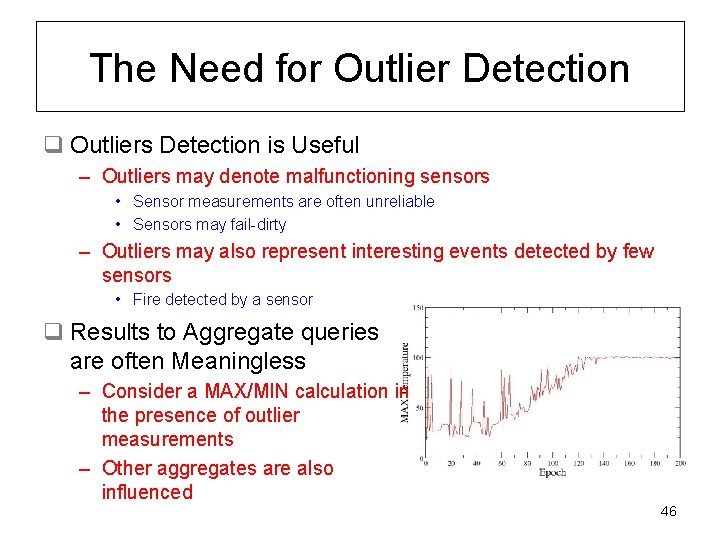 The Need for Outlier Detection q Outliers Detection is Useful – Outliers may denote