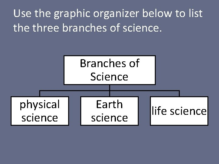 Use the graphic organizer below to list the three branches of science. Branches of