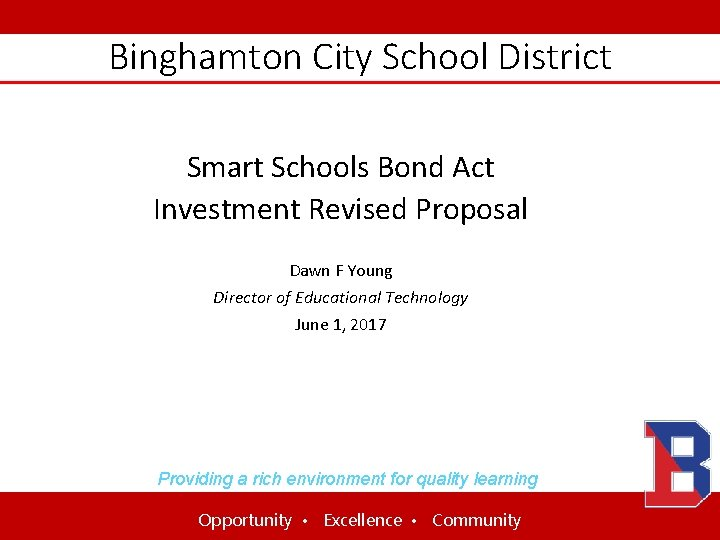 Binghamton City School District Smart Schools Bond Act Investment Revised Proposal Dawn F Young