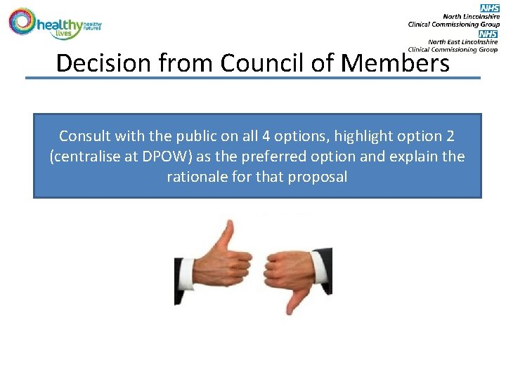 Decision from Council of Members Consult with the public on all 4 options, highlight