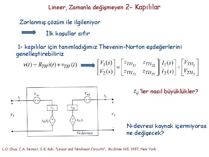 Lineer, Zamanla değişmeyen 2 - Kapılılar Zorlanmış çözüm ile ilgileniyor İlk koşullar sıfır 1