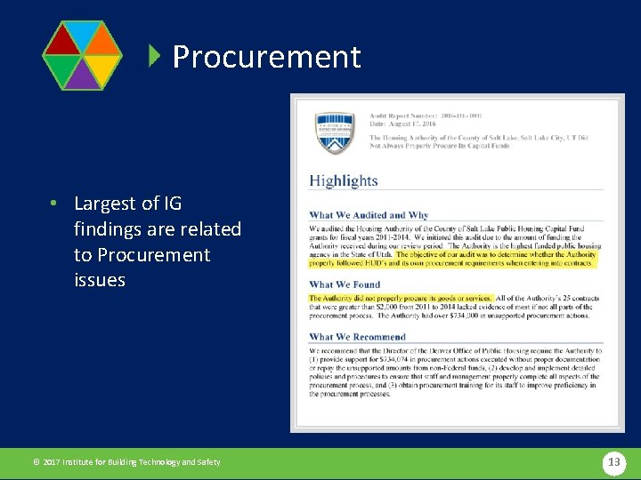 Procurement • Largest of IG findings are related to Procurement issues © 2017 Institute