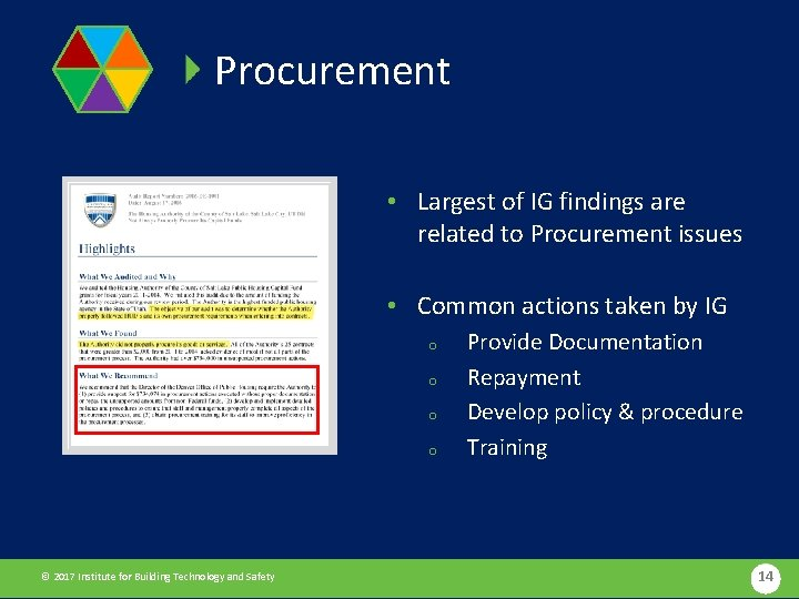 Procurement • Largest of IG findings are related to Procurement issues • Common actions