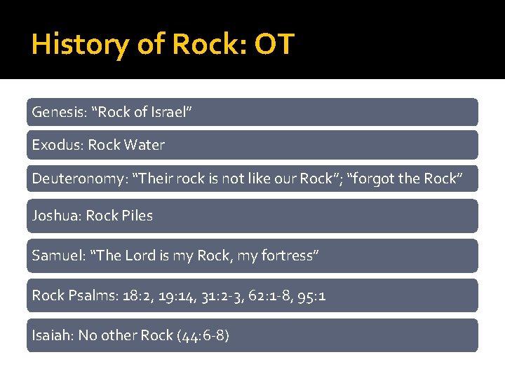 """History of Rock: OT Genesis: """"Rock of Israel"""" Exodus: Rock Water Deuteronomy: """"Their rock"""