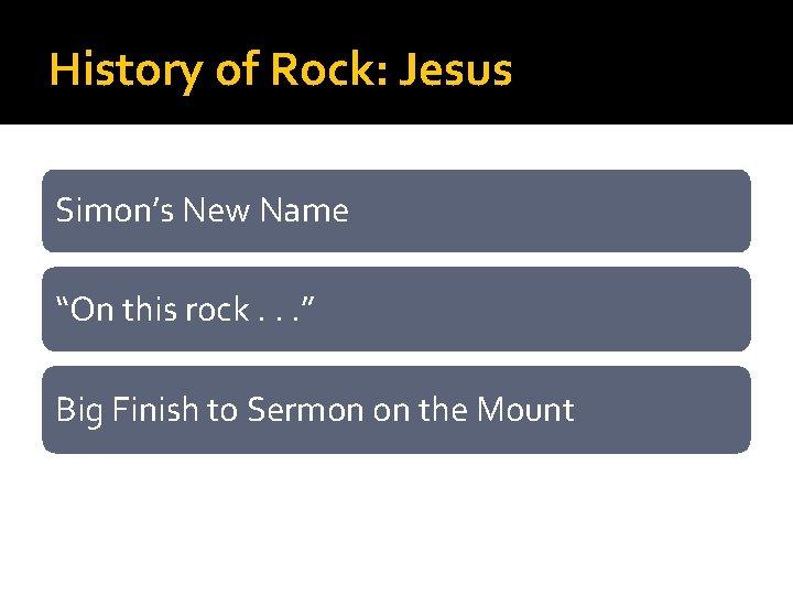 "History of Rock: Jesus Simon's New Name ""On this rock. . . "" Big"