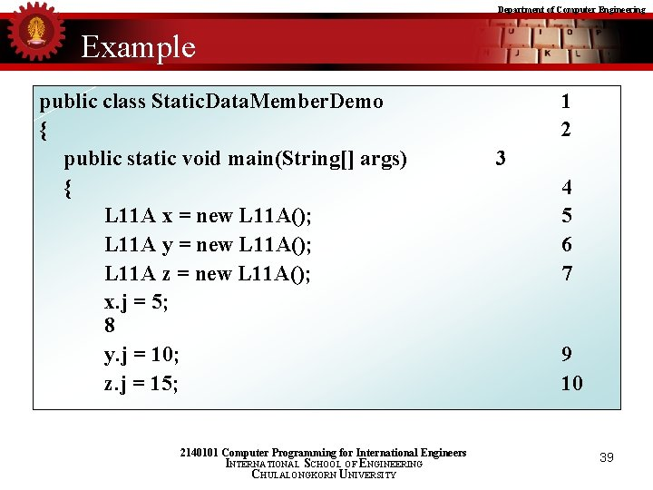 Department of Computer Engineering Example public class Static. Data. Member. Demo { public static
