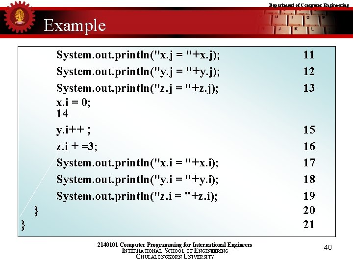 """Department of Computer Engineering Example System. out. println(""""x. j = """"+x. j); System. out."""
