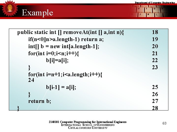Department of Computer Engineering Example public static int [] remove. At(int [] a, int
