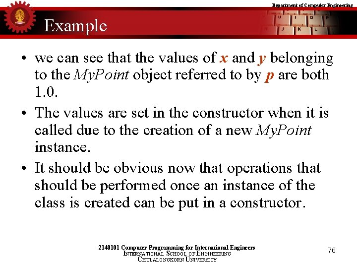 Department of Computer Engineering Example • we can see that the values of x