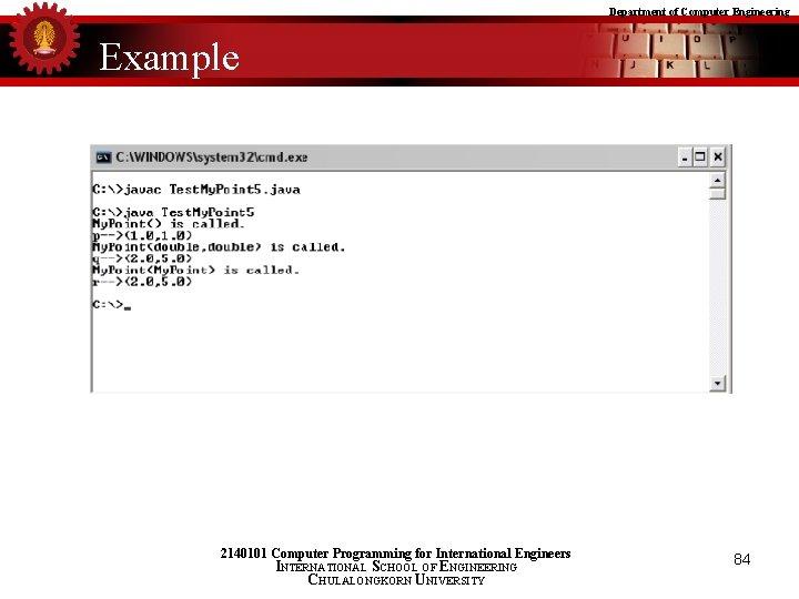 Department of Computer Engineering Example 2140101 Computer Programming for International Engineers INTERNATIONAL SCHOOL OF