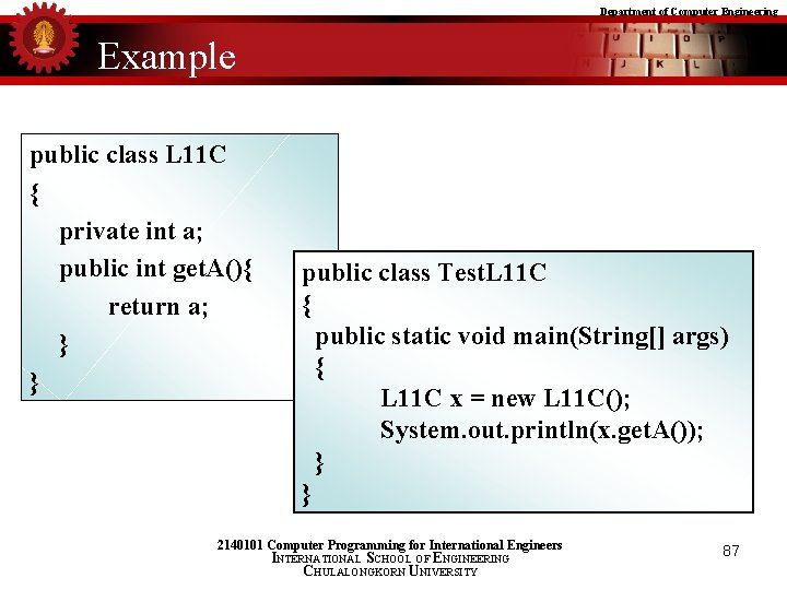 Department of Computer Engineering Example public class L 11 C { private int a;