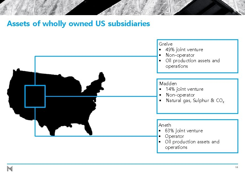 Assets of wholly owned US subsidiaries Greive § 49% joint venture § Non-operator §