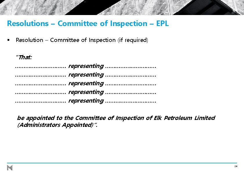 Resolutions – Committee of Inspection – EPL § Resolution – Committee of Inspection (if