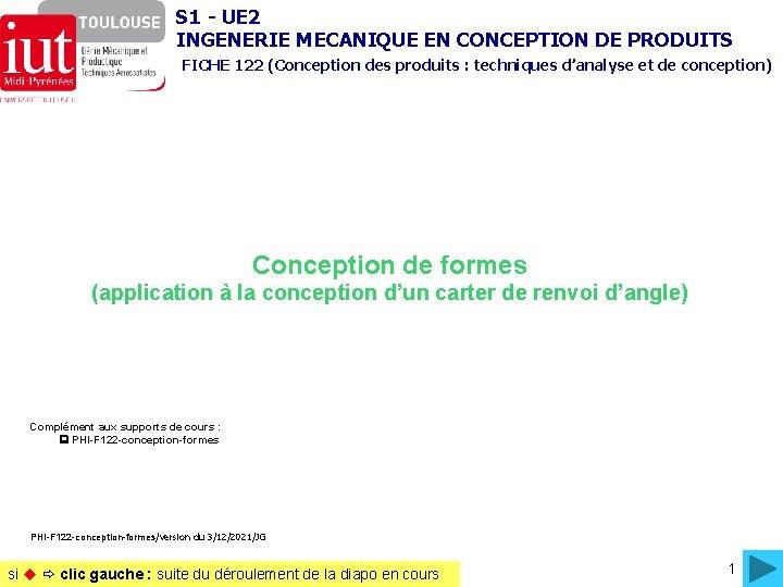 S 1 - UE 2 INGENERIE MECANIQUE EN CONCEPTION DE PRODUITS FICHE 122 (Conception