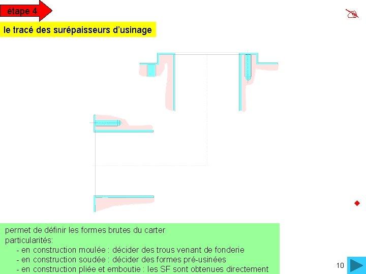 étape 4 le tracé des surépaisseurs d'usinage permet de définir les formes brutes