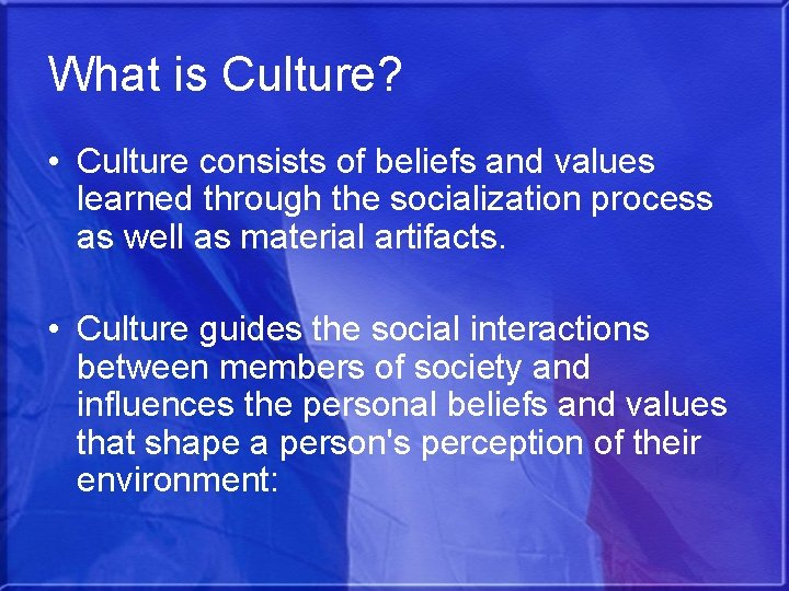 What is Culture? • Culture consists of beliefs and values learned through the socialization