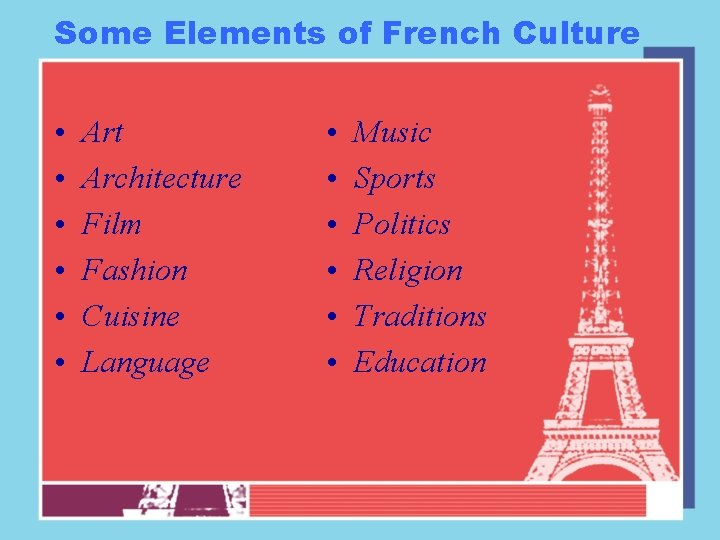 Some Elements of French Culture • • • Art Architecture Film Fashion Cuisine Language
