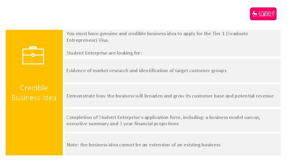 You must have genuine and credible business idea to apply for the Tier 1