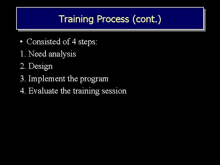 Training Process (cont. ) • Consisted of 4 steps: 1. Need analysis 2. Design