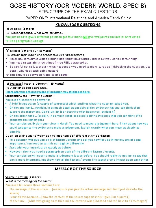 GCSE HISTORY (OCR MODERN WORLD: SPEC B) STRUCTURE OF THE EXAM QUESTIONS PAPER ONE: