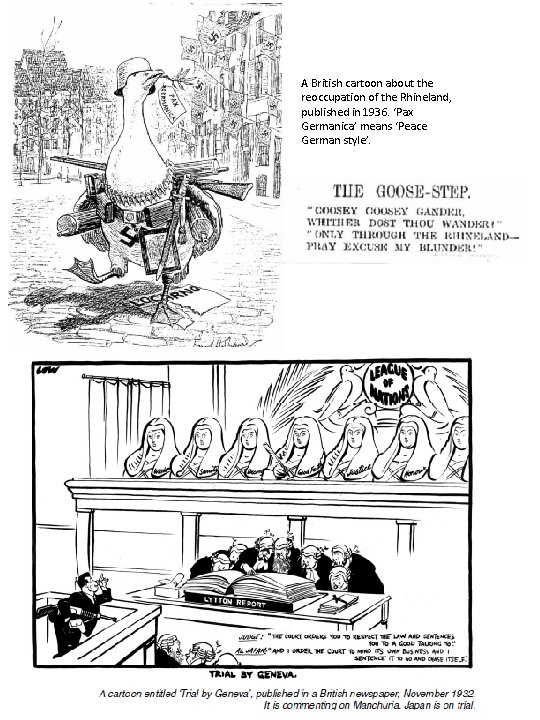 A British cartoon about the reoccupation of the Rhineland, published in 1936. 'Pax Germanica'