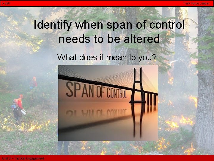 S-330 Task Force Leader Identify when span of control needs to be altered What