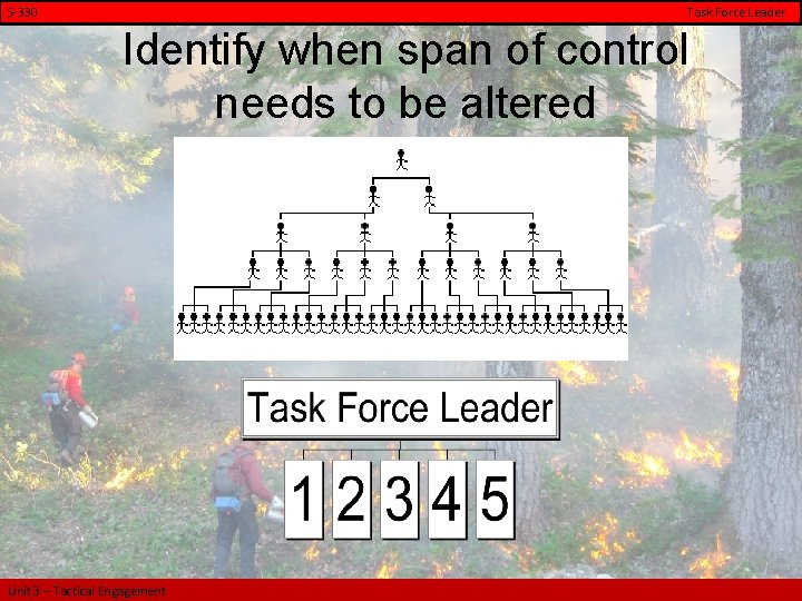 S-330 Task Force Leader Identify when span of control needs to be altered Unit