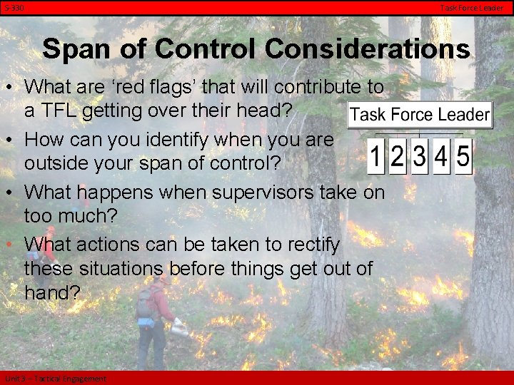 S-330 Task Force Leader Span of Control Considerations • What are 'red flags' that