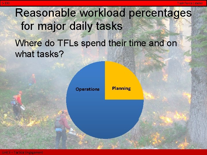 S-330 Task Force Leader Reasonable workload percentages for major daily tasks Where do TFLs