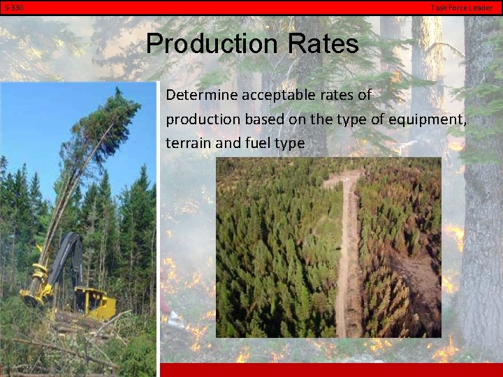 S-330 Task Force Leader Production Rates Determine acceptable rates of production based on the