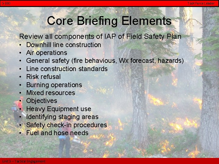 S-330 Task Force Leader Core Briefing Elements Review all components of IAP of Field