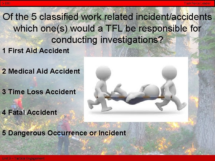 S-330 Task Force Leader Of the 5 classified work related incident/accidents which one(s) would