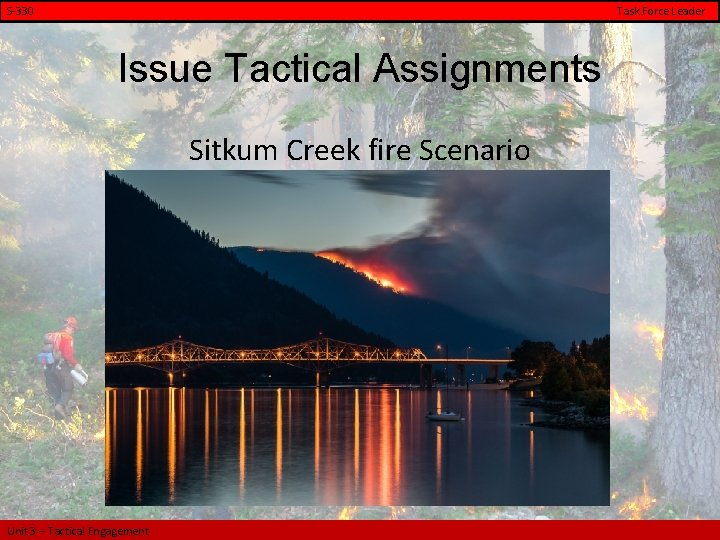 S-330 Task Force Leader Issue Tactical Assignments Sitkum Creek fire Scenario Unit 3 –