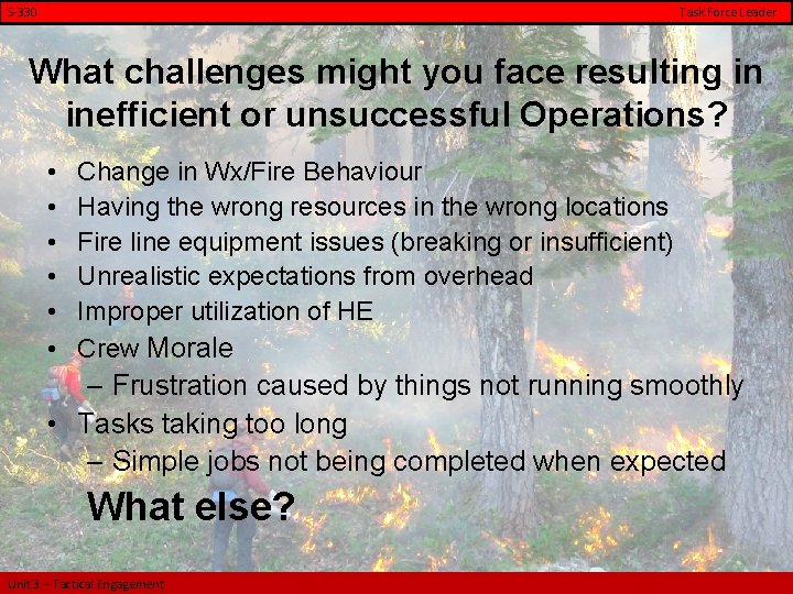 S-330 Task Force Leader What challenges might you face resulting in inefficient or unsuccessful