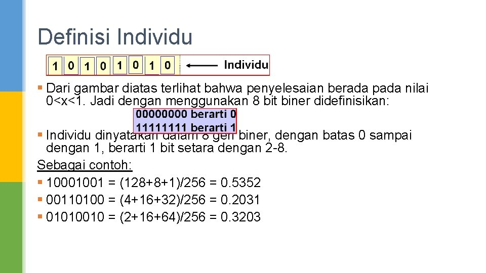 Definisi Individu § Dari gambar diatas terlihat bahwa penyelesaian berada pada nilai 0<x<1. Jadi