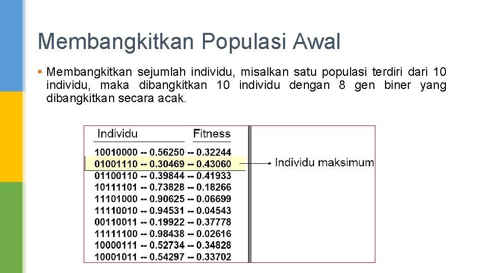 Membangkitkan Populasi Awal § Membangkitkan sejumlah individu, misalkan satu populasi terdiri dari 10 individu,