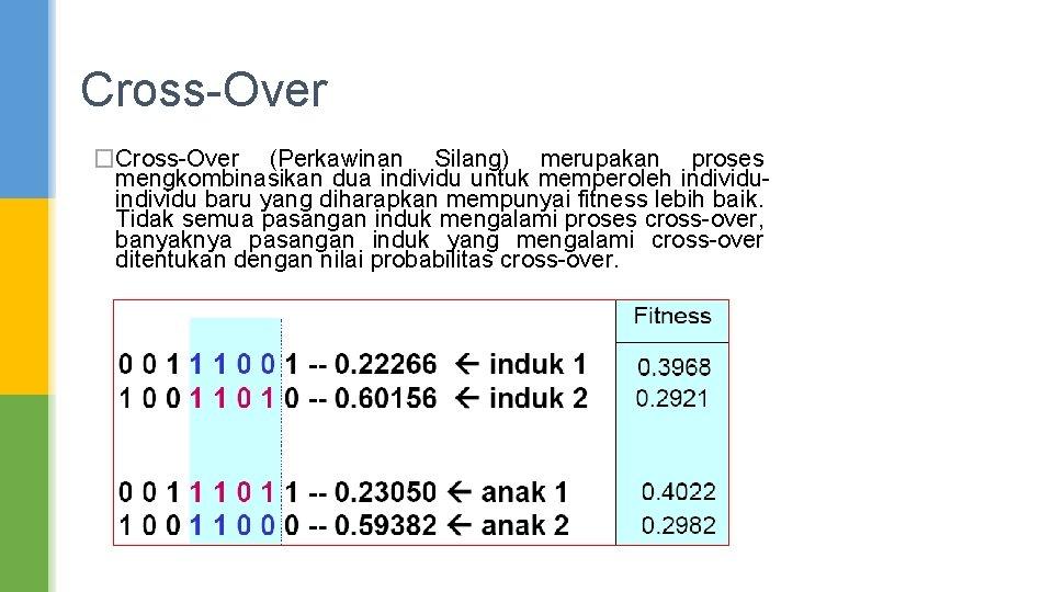 Cross-Over �Cross-Over (Perkawinan Silang) merupakan proses mengkombinasikan dua individu untuk memperoleh individu baru yang