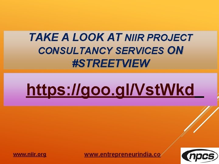 TAKE A LOOK AT NIIR PROJECT CONSULTANCY SERVICES ON #STREETVIEW https: //goo. gl/Vst. Wkd