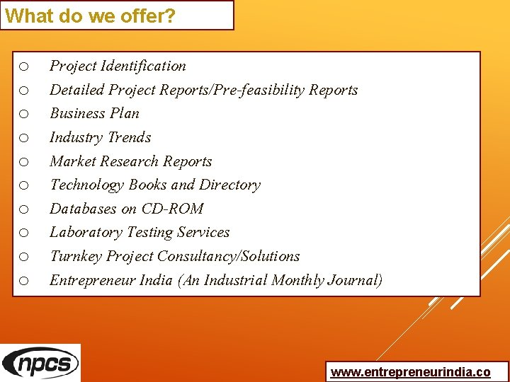 What do we offer? o o o o o Project Identification Detailed Project Reports/Pre-feasibility