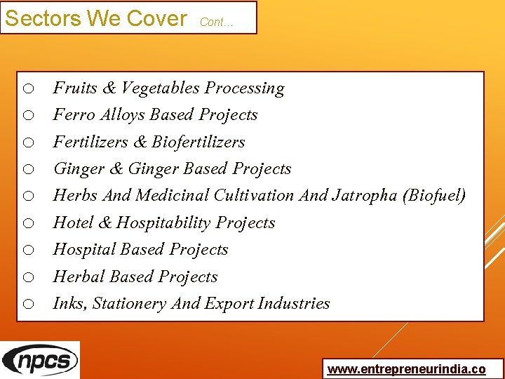 Sectors We Cover Cont… o o o o o Fruits & Vegetables Processing Ferro