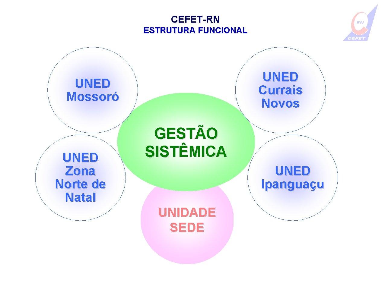 CEFET-RN ESTRUTURA FUNCIONAL UNED Currais Novos UNED Mossoró UNED Zona Norte de Natal GESTÃO