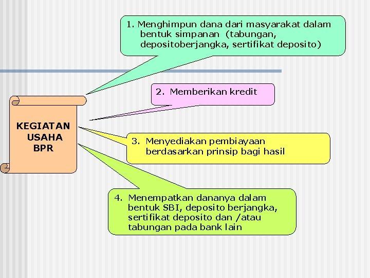 1. Menghimpun dana dari masyarakat dalam bentuk simpanan (tabungan, depositoberjangka, sertifikat deposito) 2. Memberikan