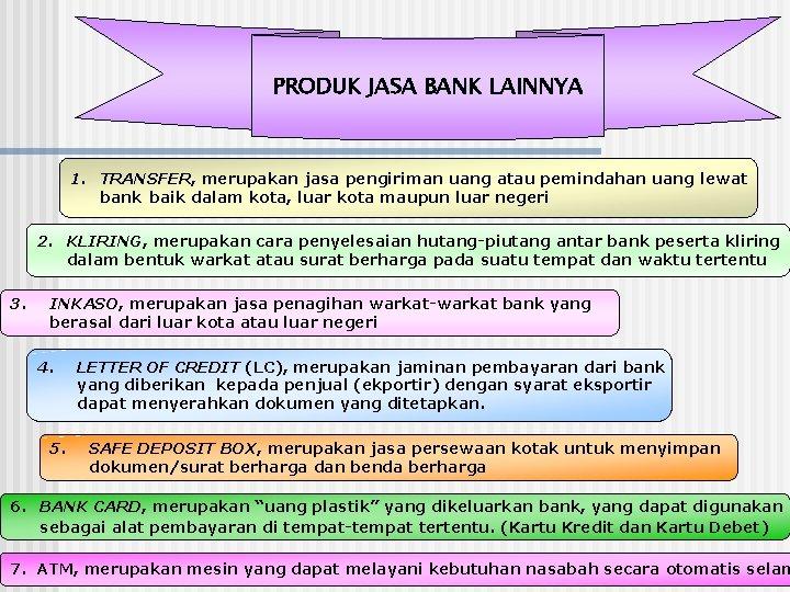 PRODUK JASA BANK LAINNYA 1. TRANSFER, merupakan jasa pengiriman uang atau pemindahan uang lewat